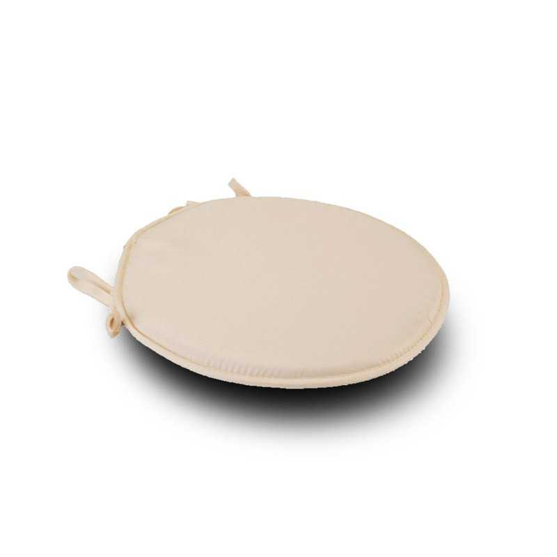 Cream Round Seat Pad Cushio1n With Ties Pack Of 2