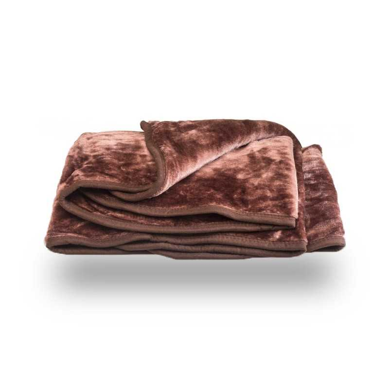 Faux Fur Chocolate Mink Throw Soft Warm Blanket
