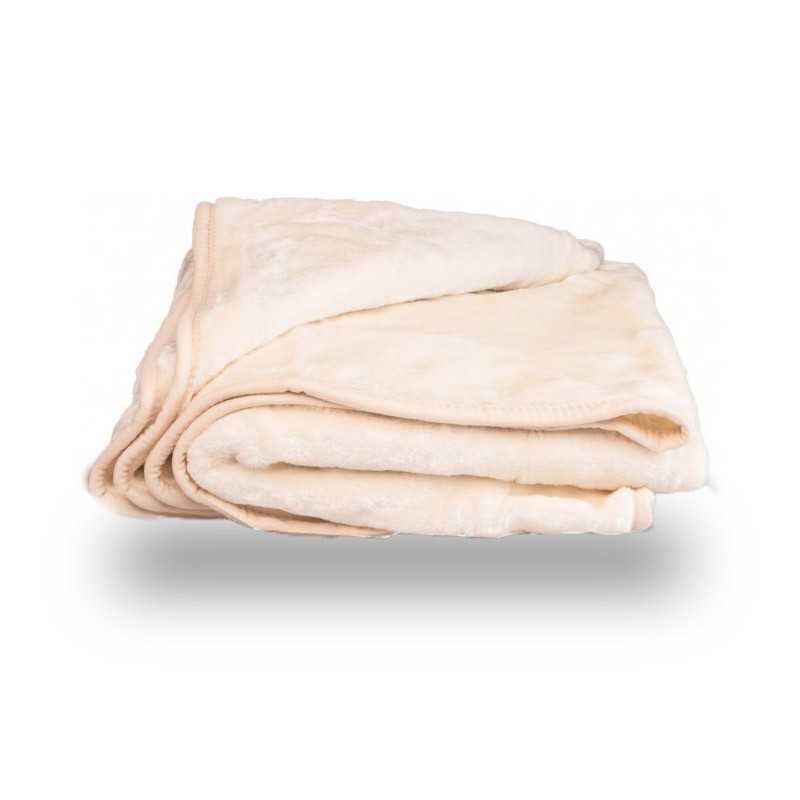 Faux Fur Cream Mink Throw Soft Warm Blanket