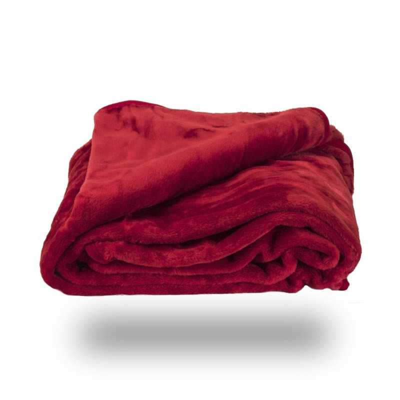 Faux Fur Red Mink Throw Soft Warm Blanket