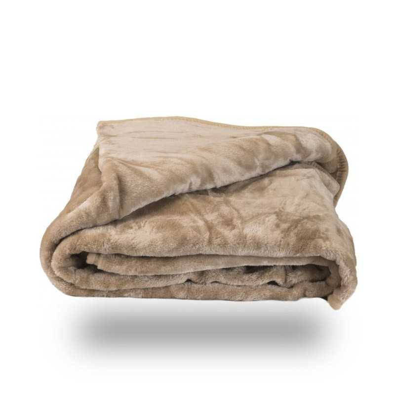 Faux Fur Tan Mink Throw Soft Warm Blanket