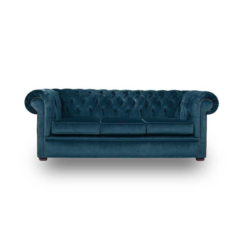 Snug City 3 Seater Crushed Velvet Blue Chesterfield Sofa