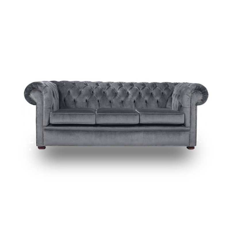 Snug City 3 Seater Crushed Velvet Graphite Chesterfield Sofa