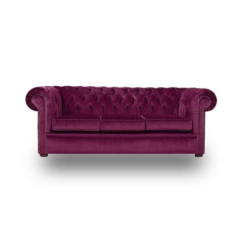Snug City 3 Seater Crushed Velvet Purple Chesterfield Sofa