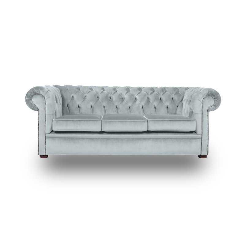 Snug City 3 Seater Crushed Velvet Sky Chesterfield Sofa