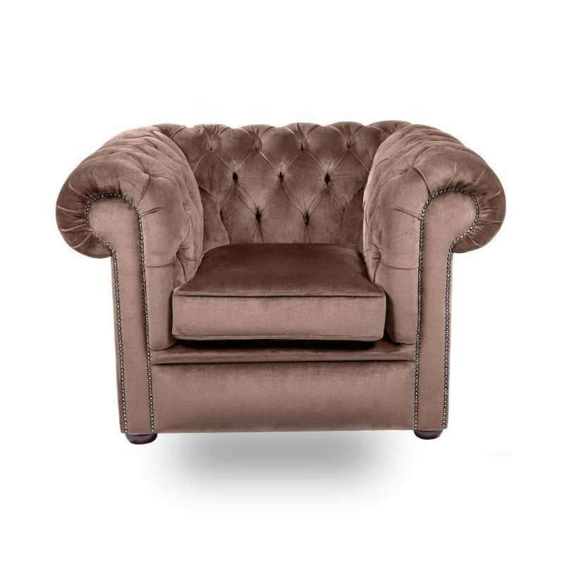 Snug City Club Chair Crushed Velvet Chocolate Chesterfield Sofa