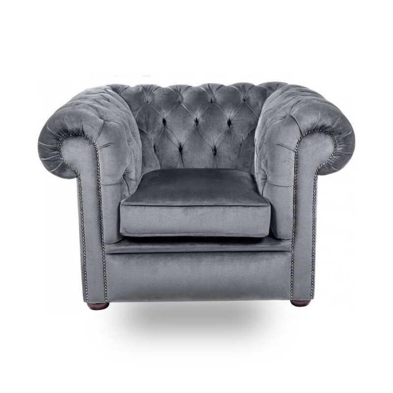 Snug City Club Chair Crushed Velvet Graphite Chesterfield Sofa