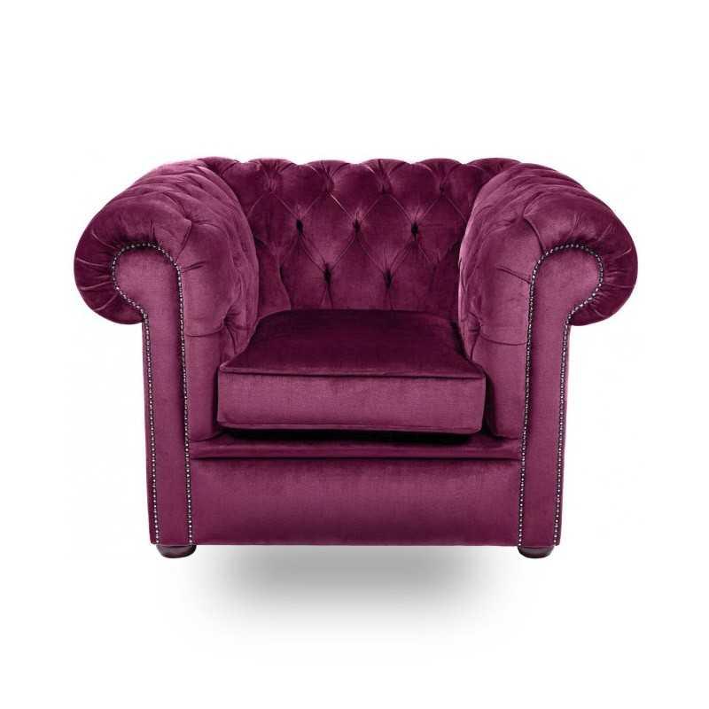 Snug City Club Chair Crushed Velvet Purple Chesterfield Sofa