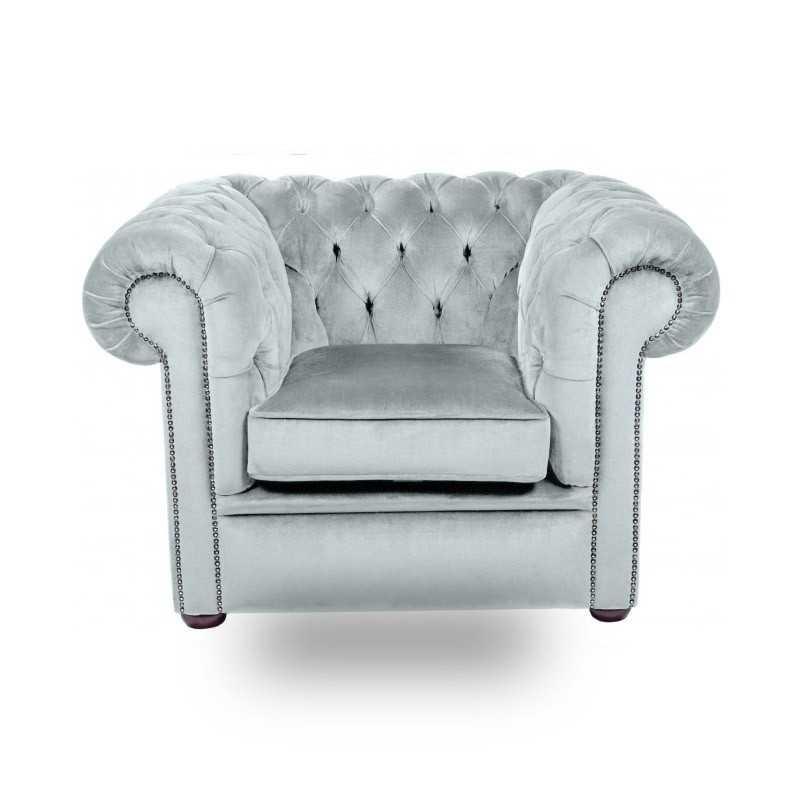 Snug City Club Chair Crushed Velvet Sky Chesterfield Sofa