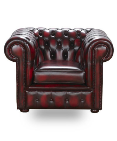 Snug City Club ChairAntiqueLeather Chesterfield Sofa
