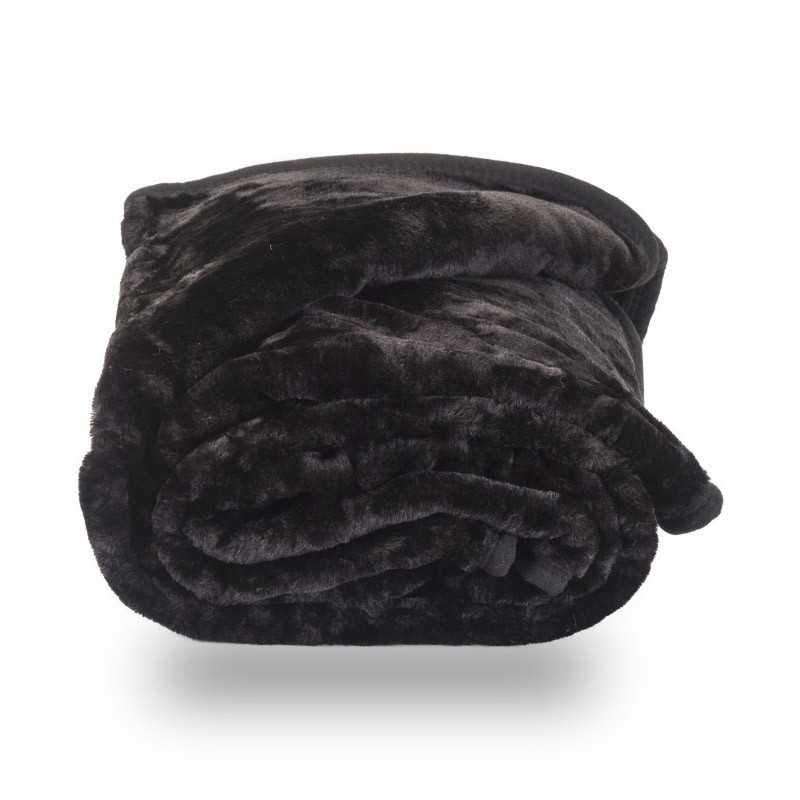 Snug City Faux Fur Black Mink Throw Soft Warm Blanket