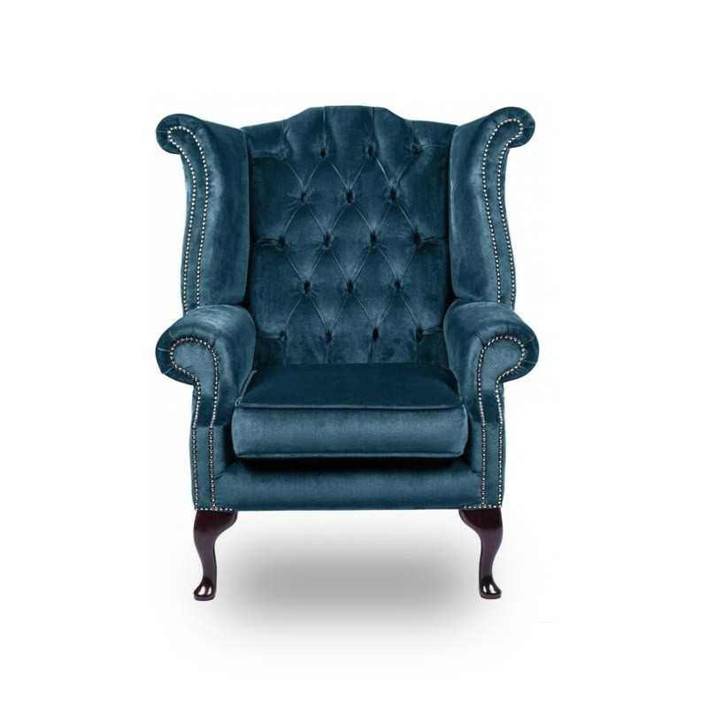 Snug City Queenanne Chair Crushed Velvet Blue Chesterfield Sofa
