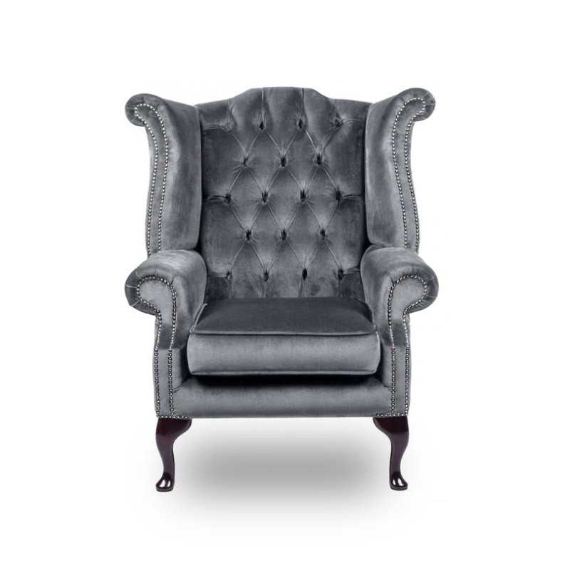 Snug City Queenanne Chair Crushed Velvet Graphite Chesterfield Sofa