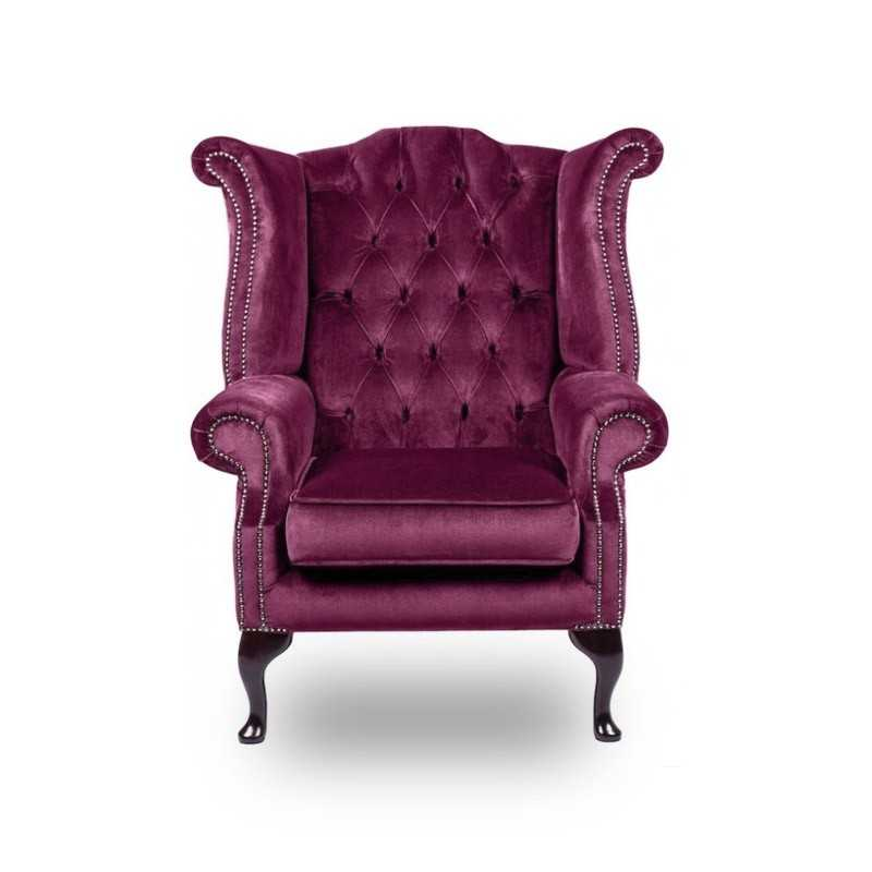Snug City Queenanne Chair Crushed Velvet Purple Chesterfield Sofa